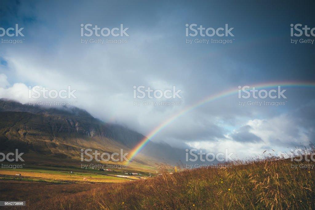 Rainbow In Iceland stock photo