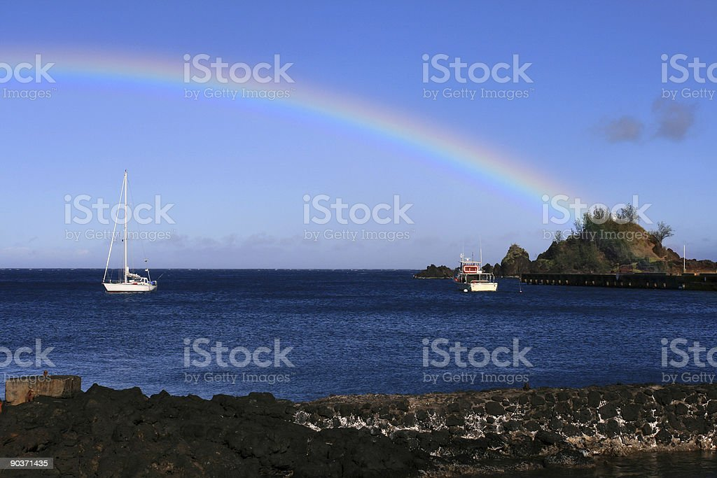 Rainbow in Maui Hawaii stock photo