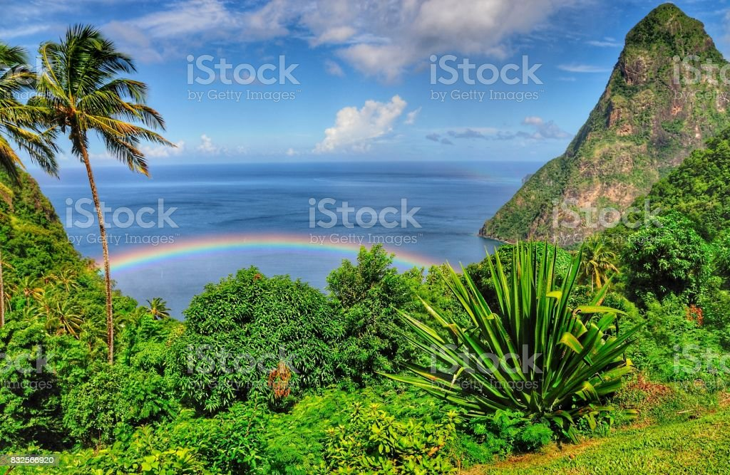 Rainbow in Paradise stock photo