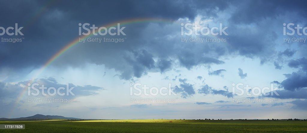 Rainbow in spring season stock photo