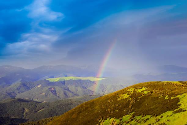 Rainbow in the Carpathians stock photo