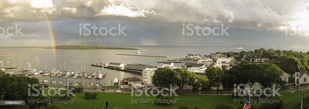 Rainbow in the Harbor stock photo