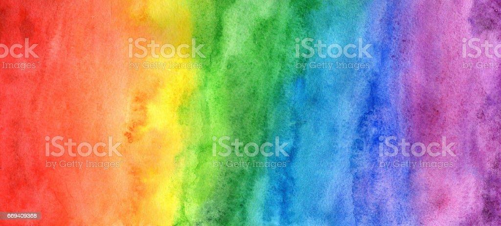 Rainbow in watercolor stock photo