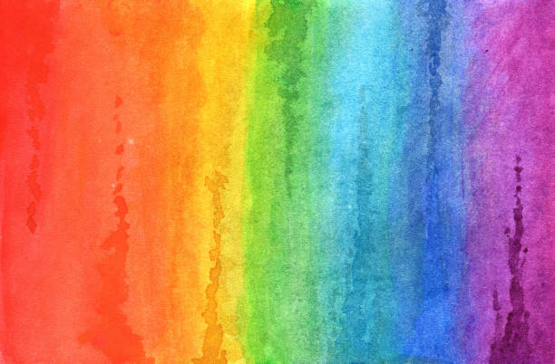 Rainbow in watercolor stock photo