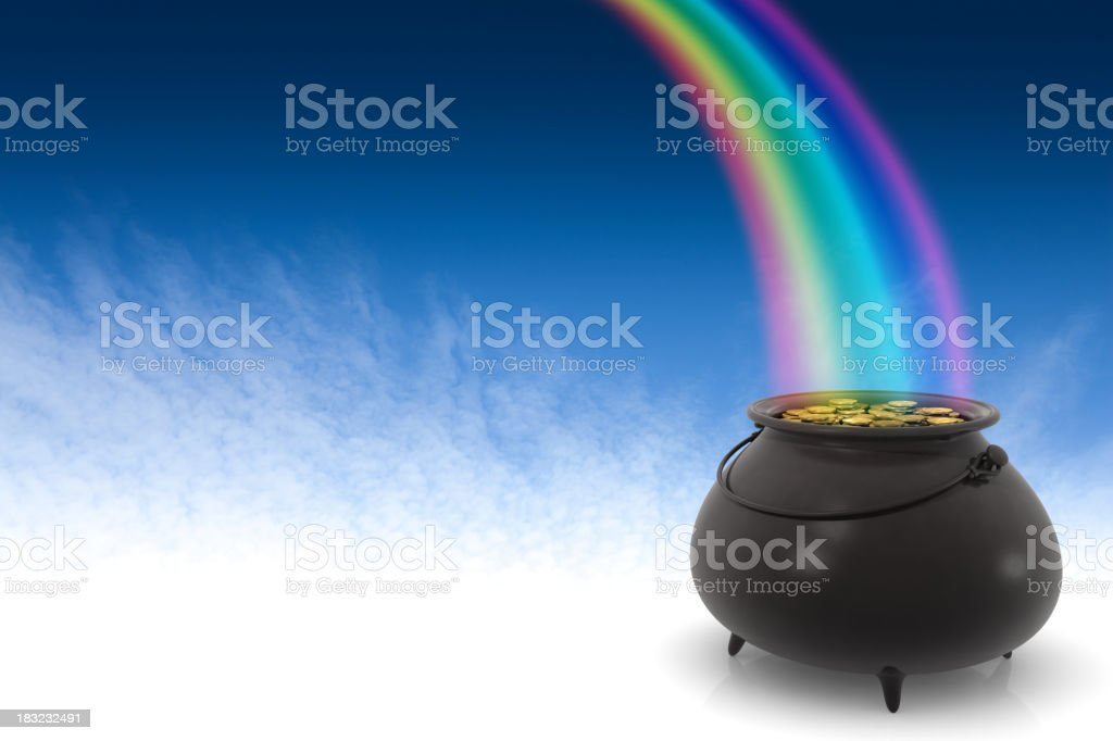 Rainbow into a black pot of gold royalty-free stock photo