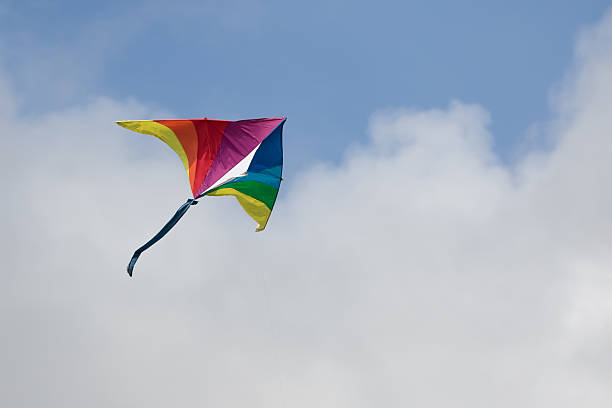 Rainbow Kite in Sky stock photo