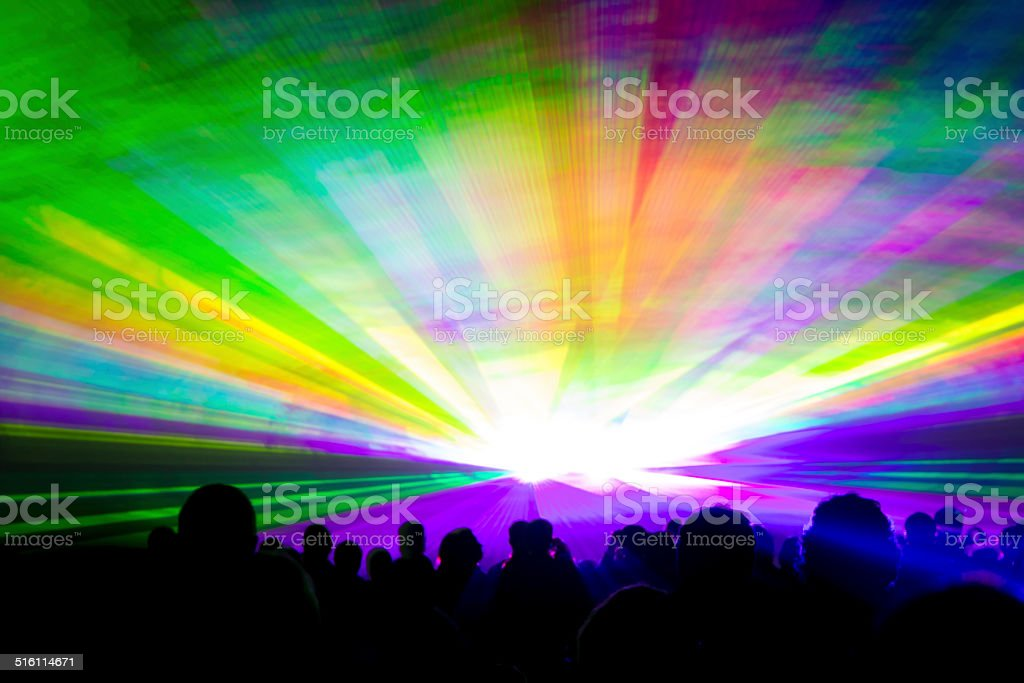 Rainbow laser show stock photo