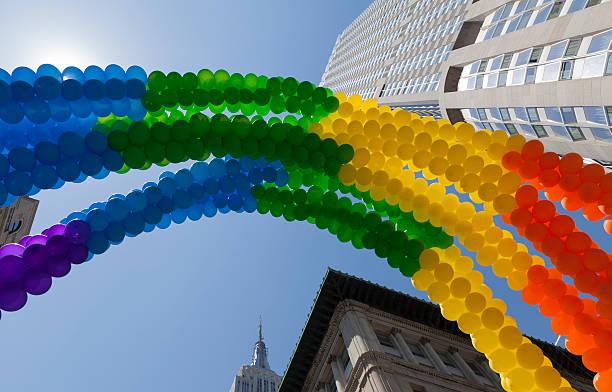 Rainbow LGBT balloons stock photo