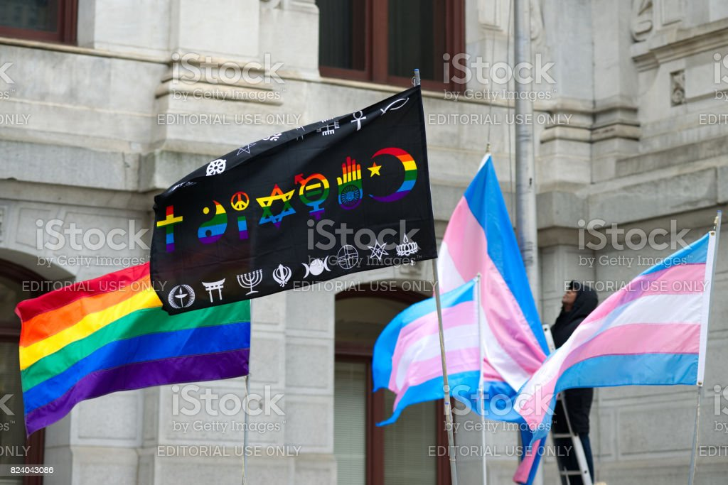 Rainbow LGTBQ Flags at City Hall in Philadelphia, PA stock photo