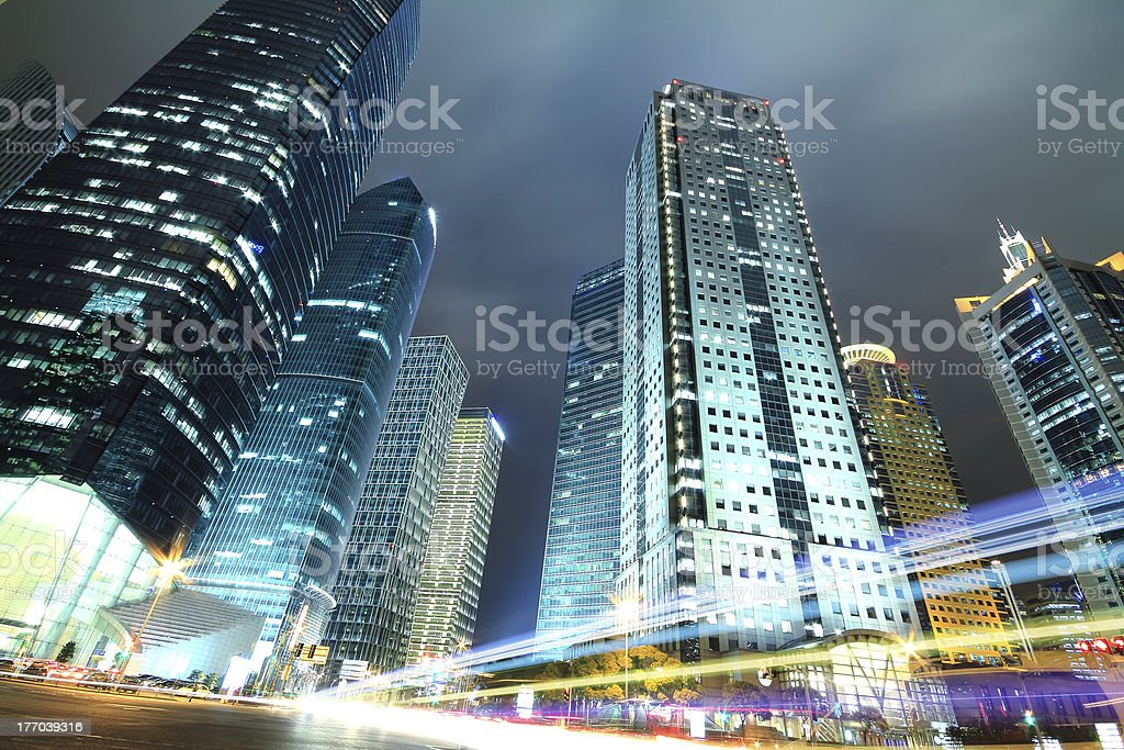 Rainbow light highway at night in Shanghai royalty-free stock photo