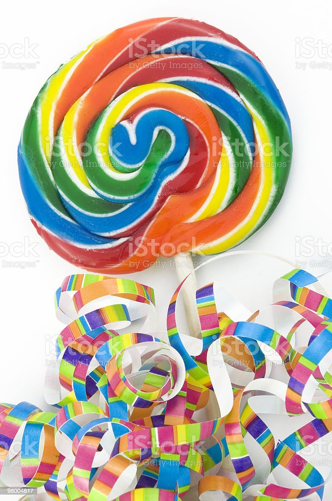 Rainbow Lollipop with Colorful Ribbons royalty-free stock photo