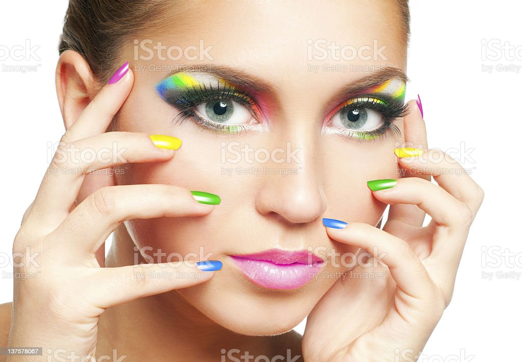 Rainbow makeup royalty-free stock photo