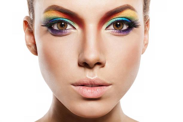 rainbow make-up - regenbogen make up stock-fotos und bilder