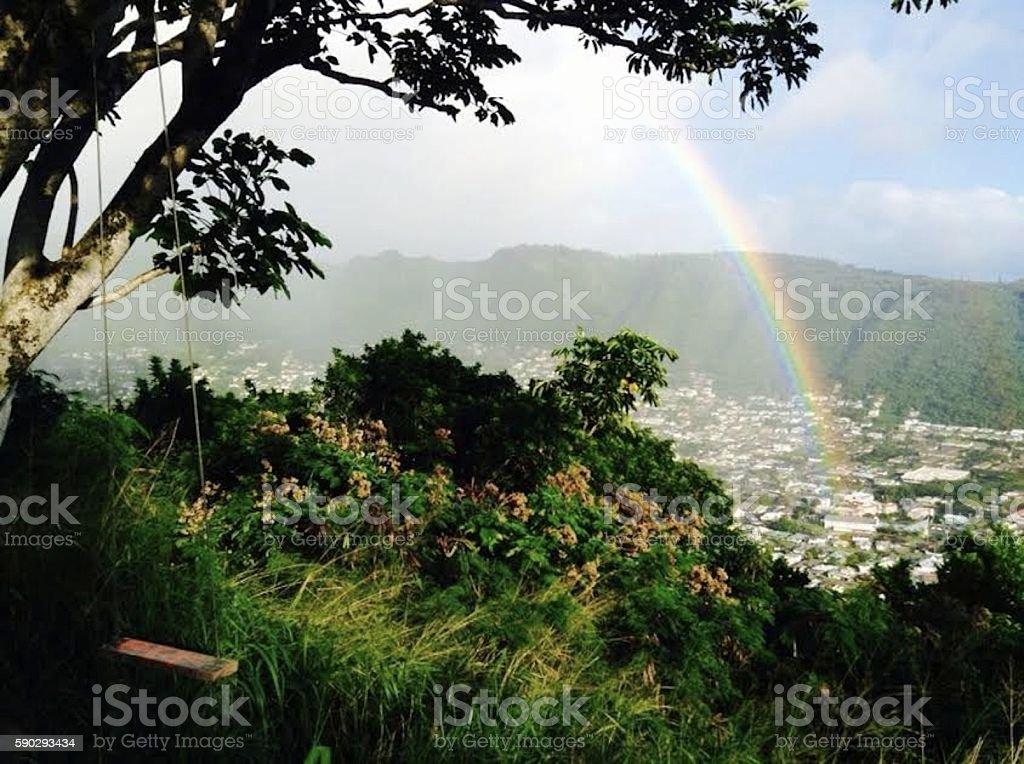 Rainbow, Manoa Valley, Oahu stock photo