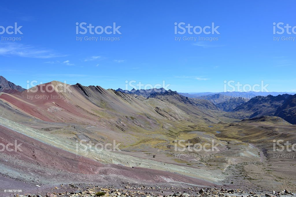 Rainbow mountains (or vinicunca mountains) in Peru stock photo