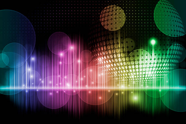 rainbow music background - disco dancing stock photos and pictures