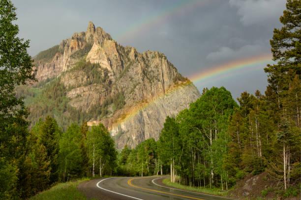 Rainbow Near Telluride stock photo