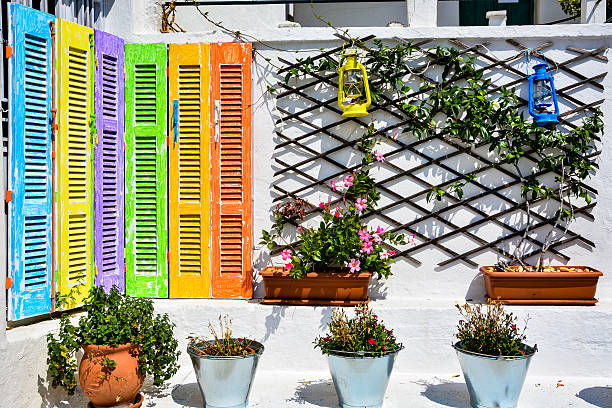 Rainbow nook in Glossa, Skopelos, Greece Glossa, Greece - August 31, 2015: Rainbow nook in a small town of Glossa on Skopelos island glossa stock pictures, royalty-free photos & images