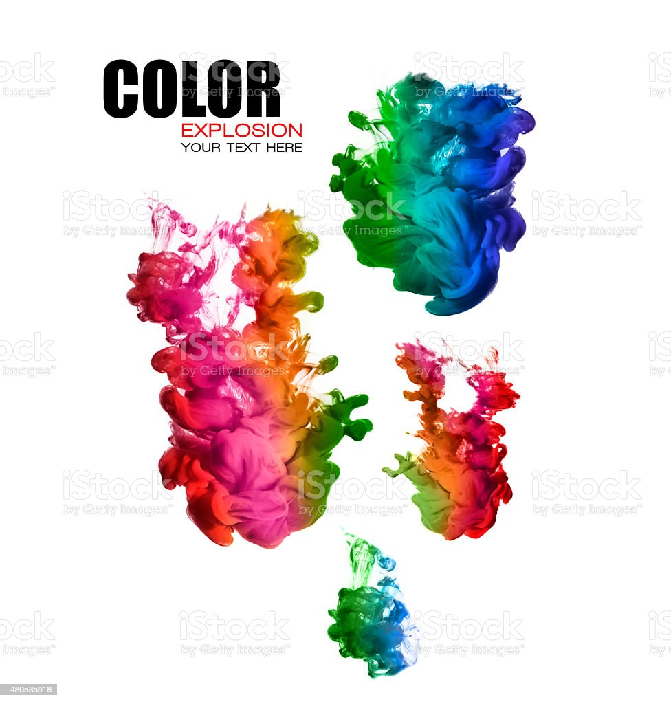rainbow of acrylic ink in water color explosion stock photo