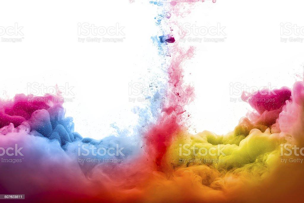 Regenbogen Aus Acryl Tinte In Wasser Explosion Der Farben Stock ...