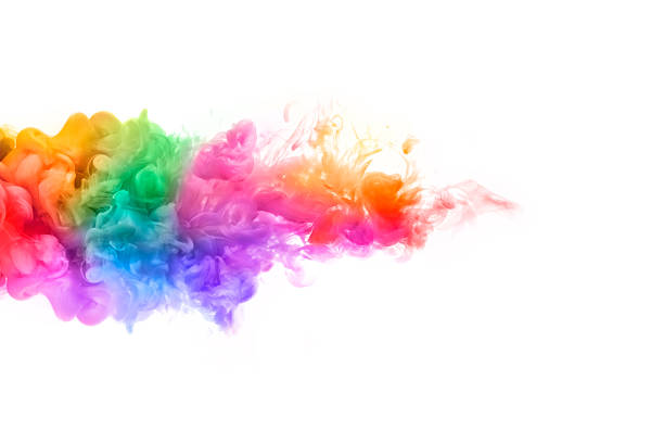 rainbow of acrylic ink in water. color explosion - 光譜 個照片及圖片檔