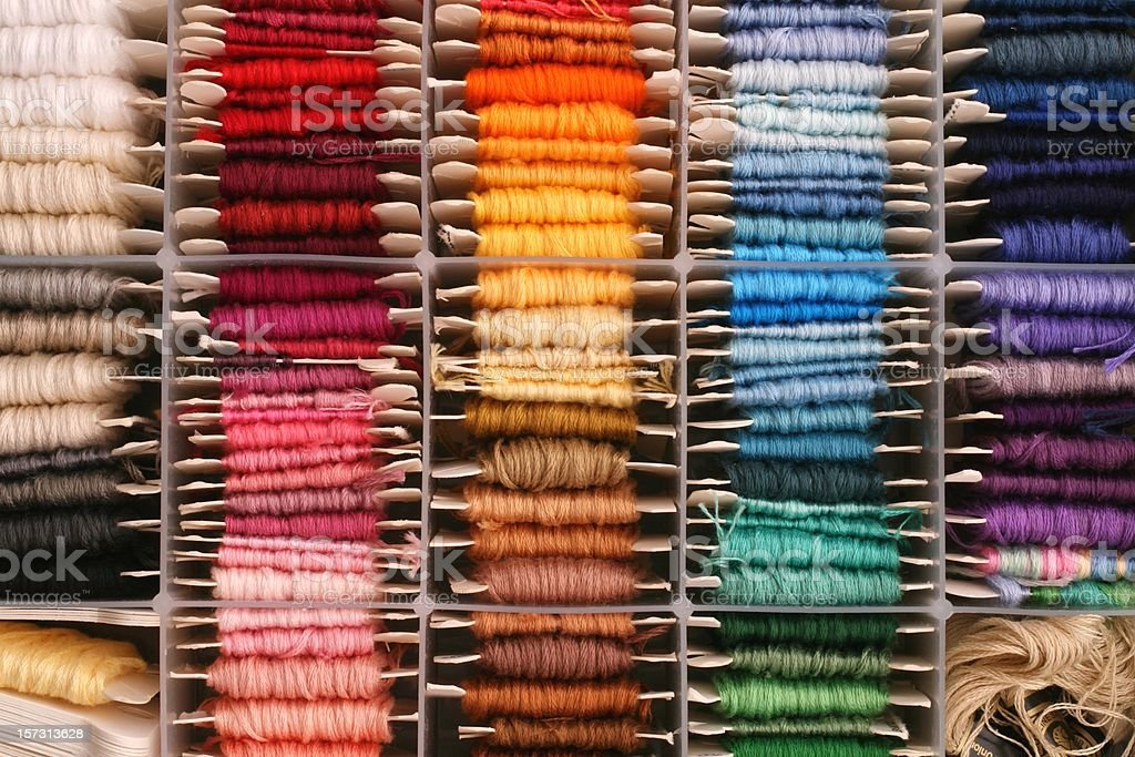 rainbow of embroidery thread a well organized collection of embroidery thread for articstic, color palette, or organized living background.  more like this Art And Craft Stock Photo