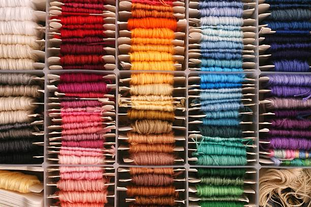 rainbow of embroidery thread stock photo