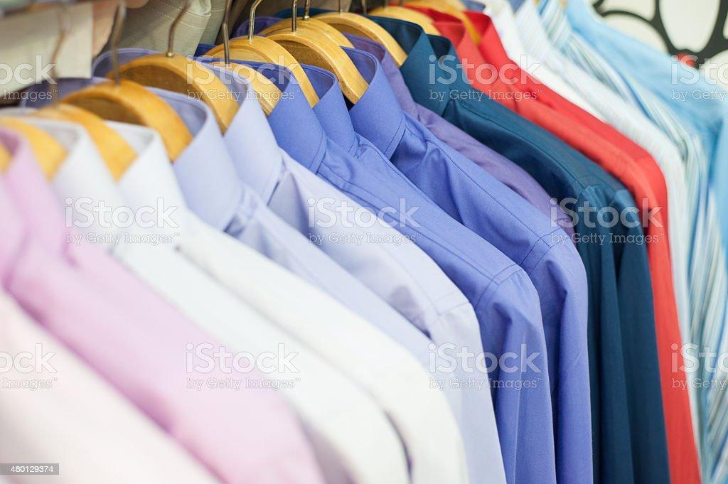 Rainbow of shirts stock photo
