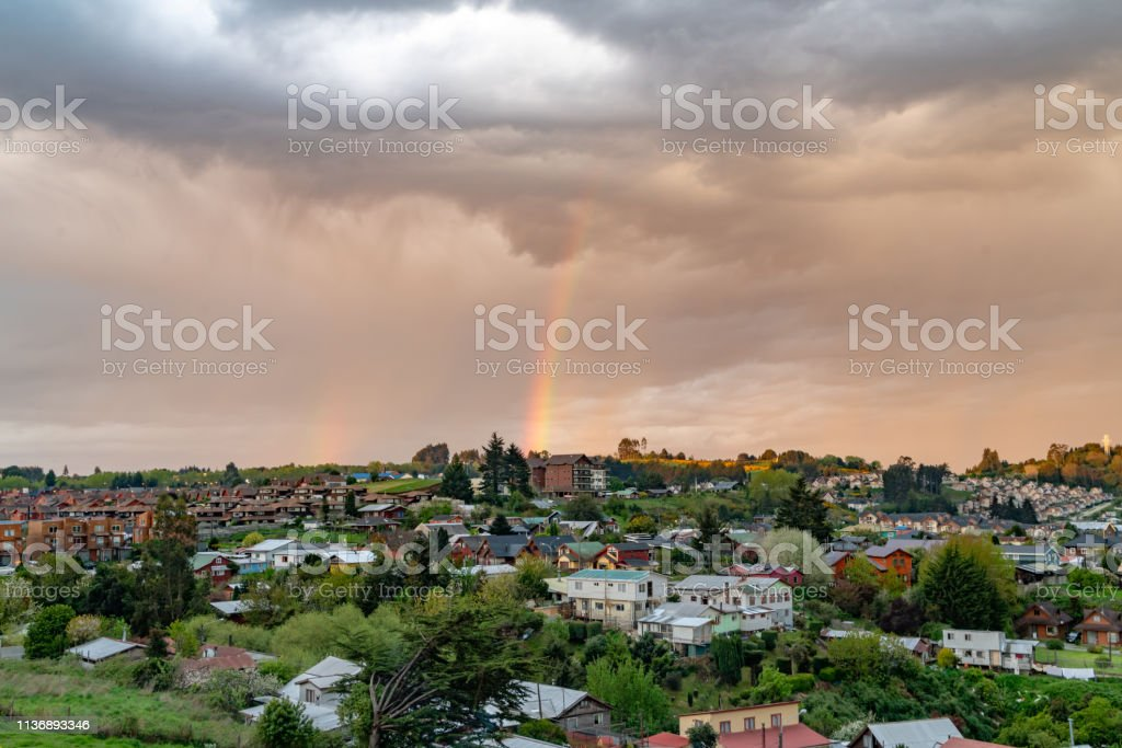 Rainbow on Puerto Varas, Chile stock photo