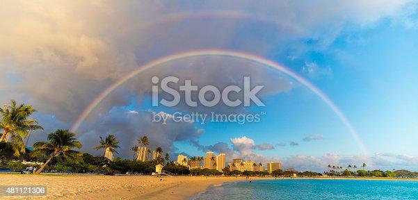istock Rainbow Over Beachfront Buildings in Hawaii 481121306