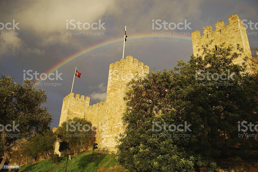 Rainbow over Castelo Sao Jorge royalty-free stock photo