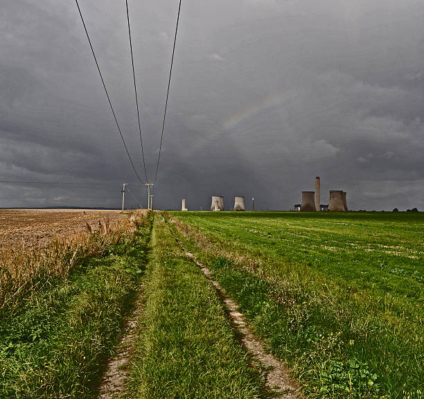 Rainbow over Didcot Power Station stock photo