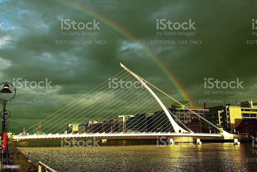 Rainbow Over Dublin On A Rainy Day stock photo