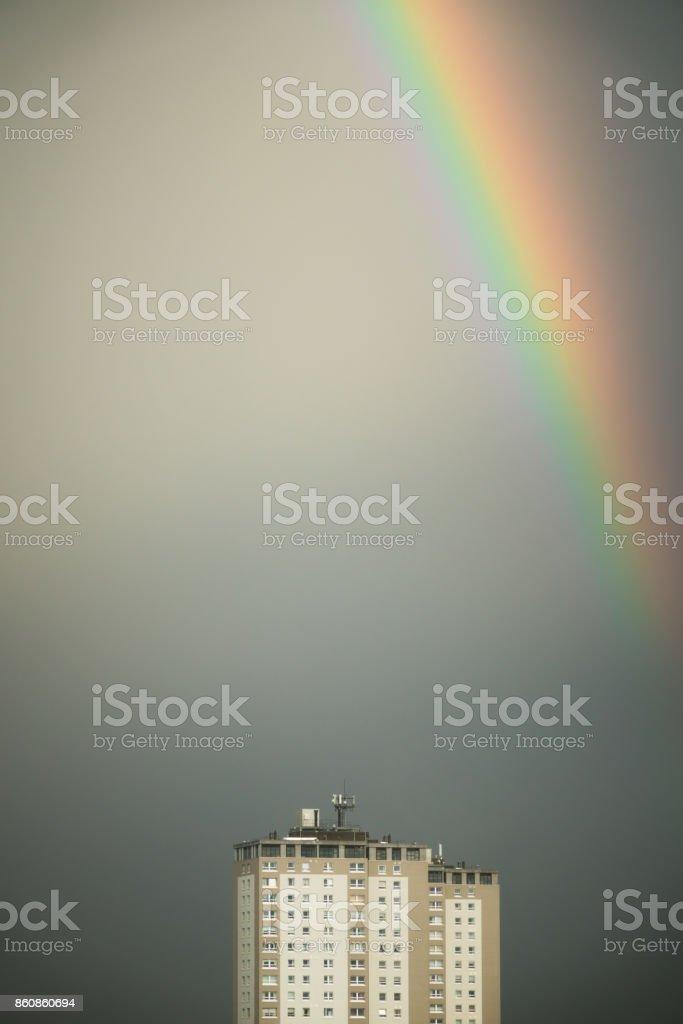 Rainbow Over Glasgow Towerblock stock photo