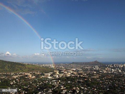 Rainbow over Honolulu with Diamond Head in the distance on Oahu.
