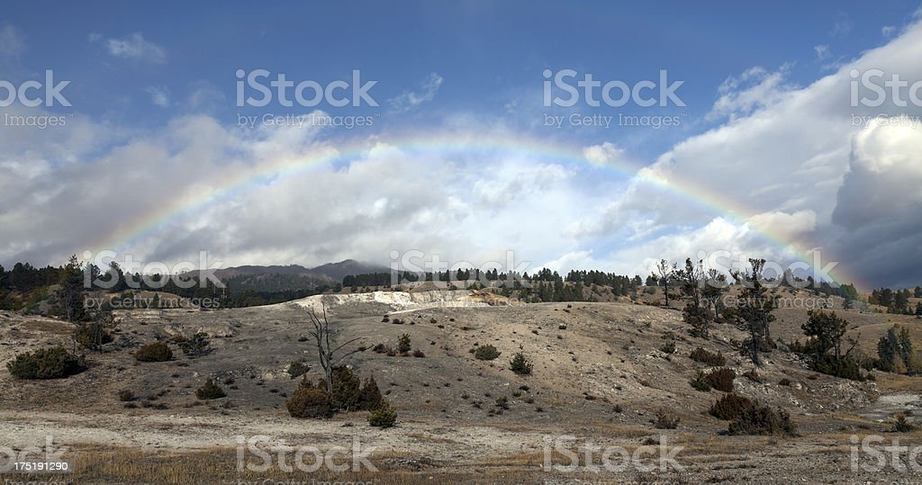Rainbow over in Yellowstone National Park royalty-free stock photo
