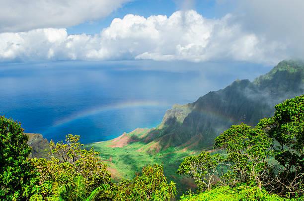 Rainbow over Kalalau Valley stock photo