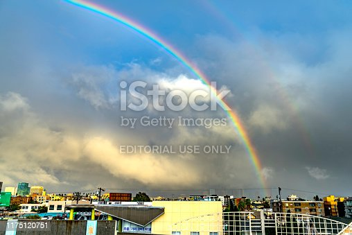 458464131istockphoto Rainbow over korea Town in Los Angeles California USA 1175120751