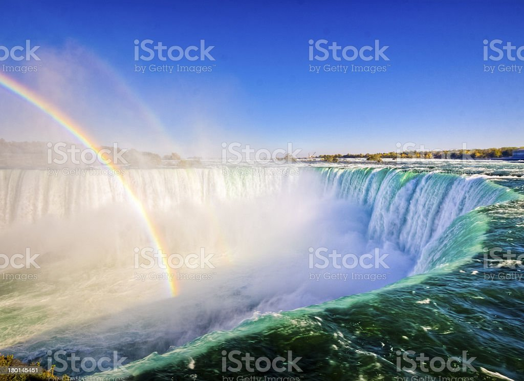 Rainbow over Niagara Falls, Ontario stock photo
