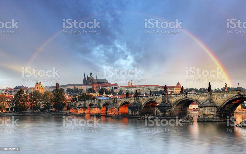 Rainbow over Prague castle, Czech republic stock photo