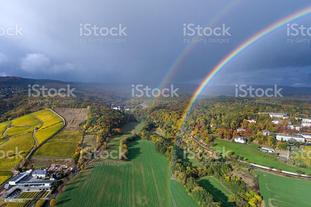 Rainbow over Rheingau - aerial view stock photo