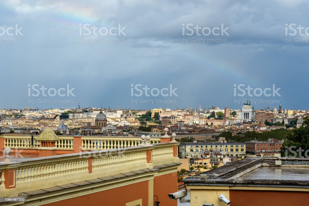 Rainbow Over Rome Arial View Of Rome City From Janiculum Hill Terrazza Del Gianicolo Rome Italy Stock Photo Download Image Now