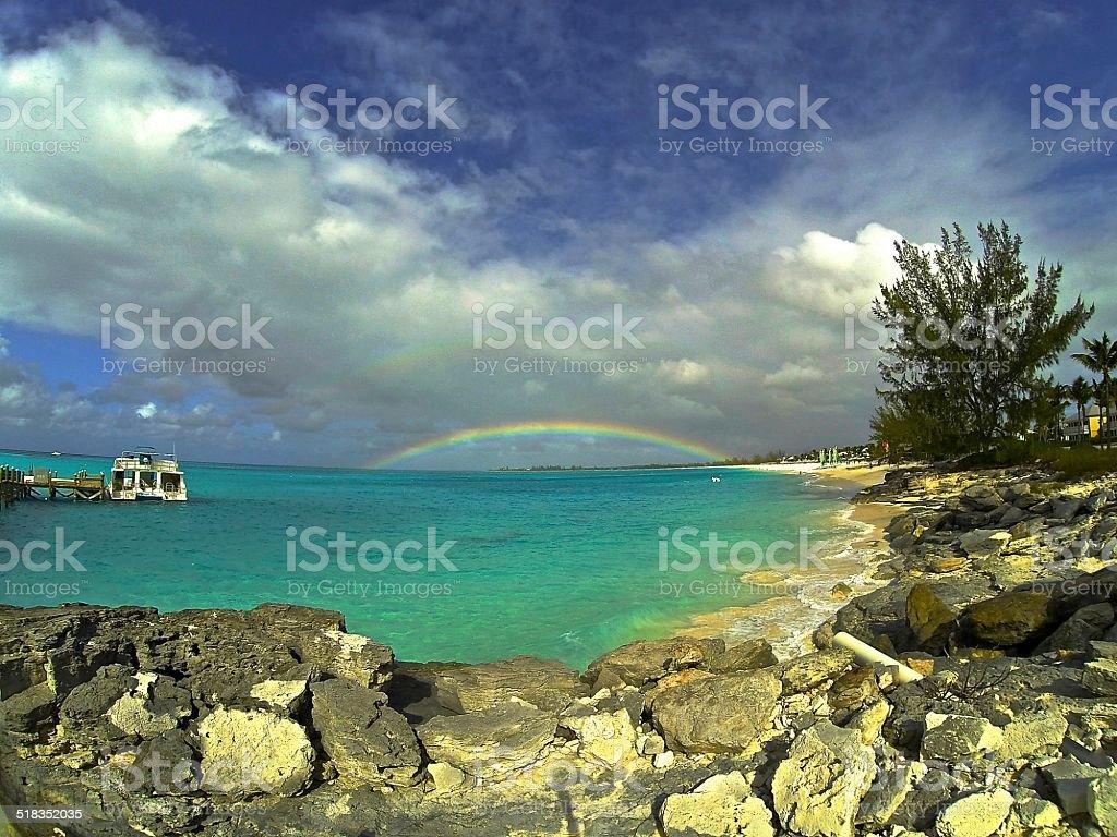 Rainbow over San Salvador stock photo