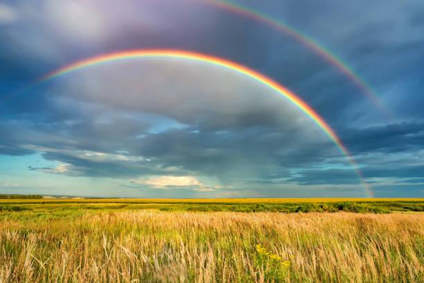 arco-íris sobre o céu tormentoso no campo no dia de verão - arco íris - fotografias e filmes do acervo