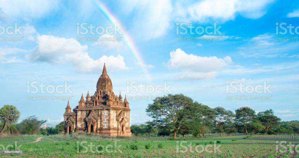 Rainbow over Temples in Bagan Myanmar stock photo