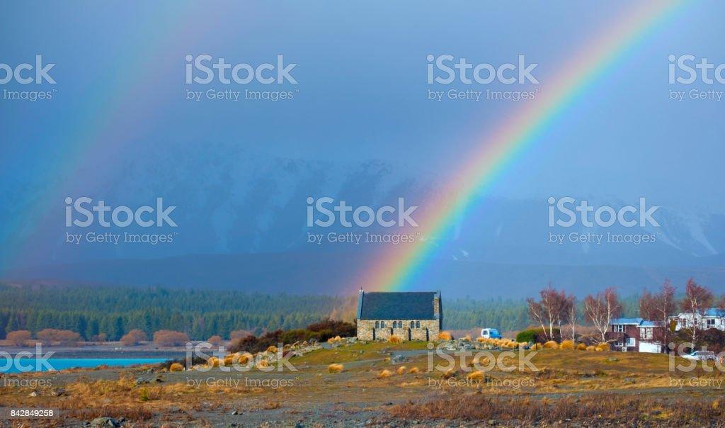 Rainbow Over The Church At Lake Tekapo stock photo