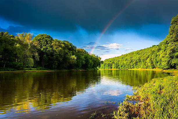 Rainbow over the Delaware River, at Delaware Water Gap National stock photo