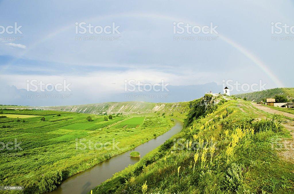 Rainbow over the river near Cave Monastery in Orhei, Moldova stock photo