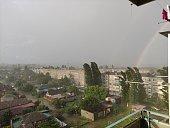 istock Rainbow over the sleeping quarter of the city 1326285950
