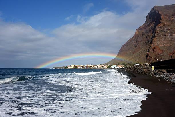 Rainbow over Valle Gran Rey, La Gomera, Canary Islands, Spain stock photo